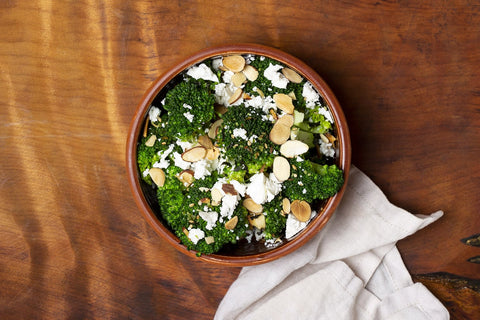 Steamed broccoli, crumbled feta, toasted almonds, sesame dressing