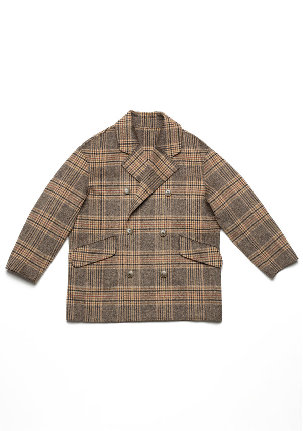 Double Face Plaid Wool Overcoat