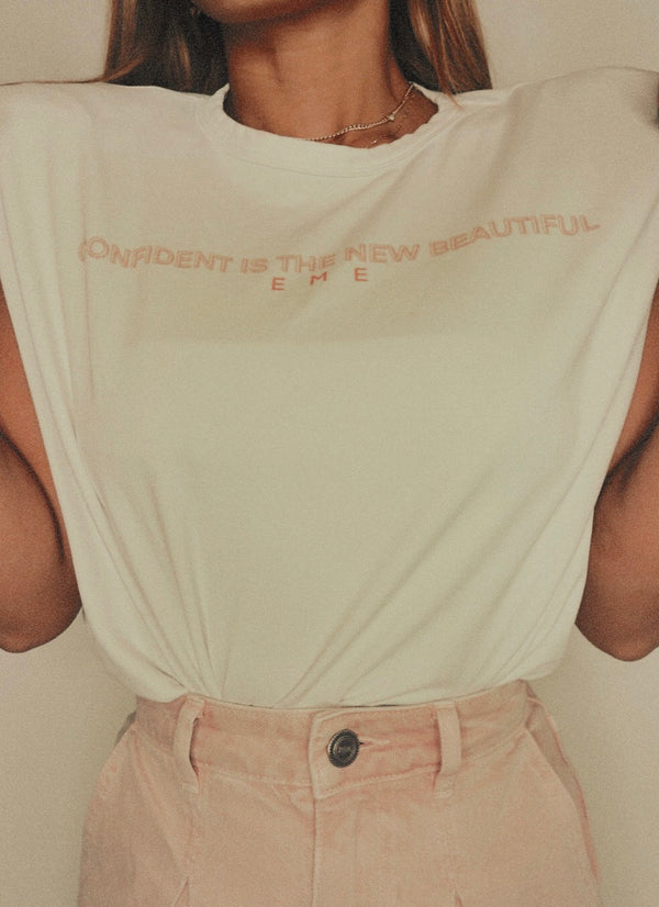 "White ""Confident is the new beautiful"" Padded Tee"