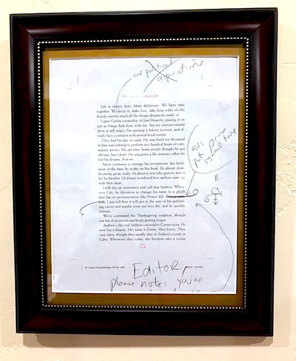 Authentic framed, edited page from actual manuscript
