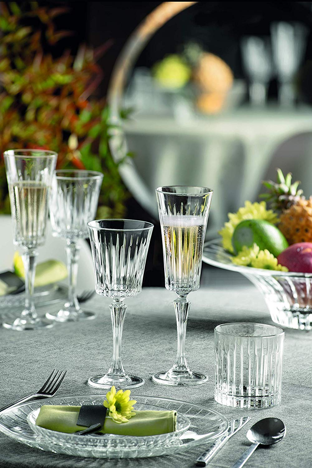 Timeless Italian Crystal Champagne Flutes 21cl Set Of 6 Fg Kitchen