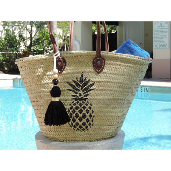 Straw Bag with Hand-Painted Pineapple