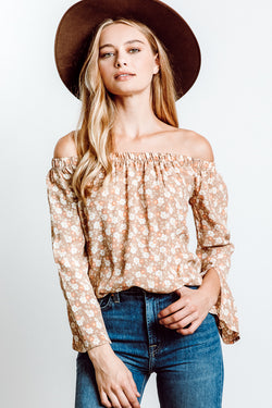 MONTE Cecile Off Shoulder Top - Cherry Blossom Taupe