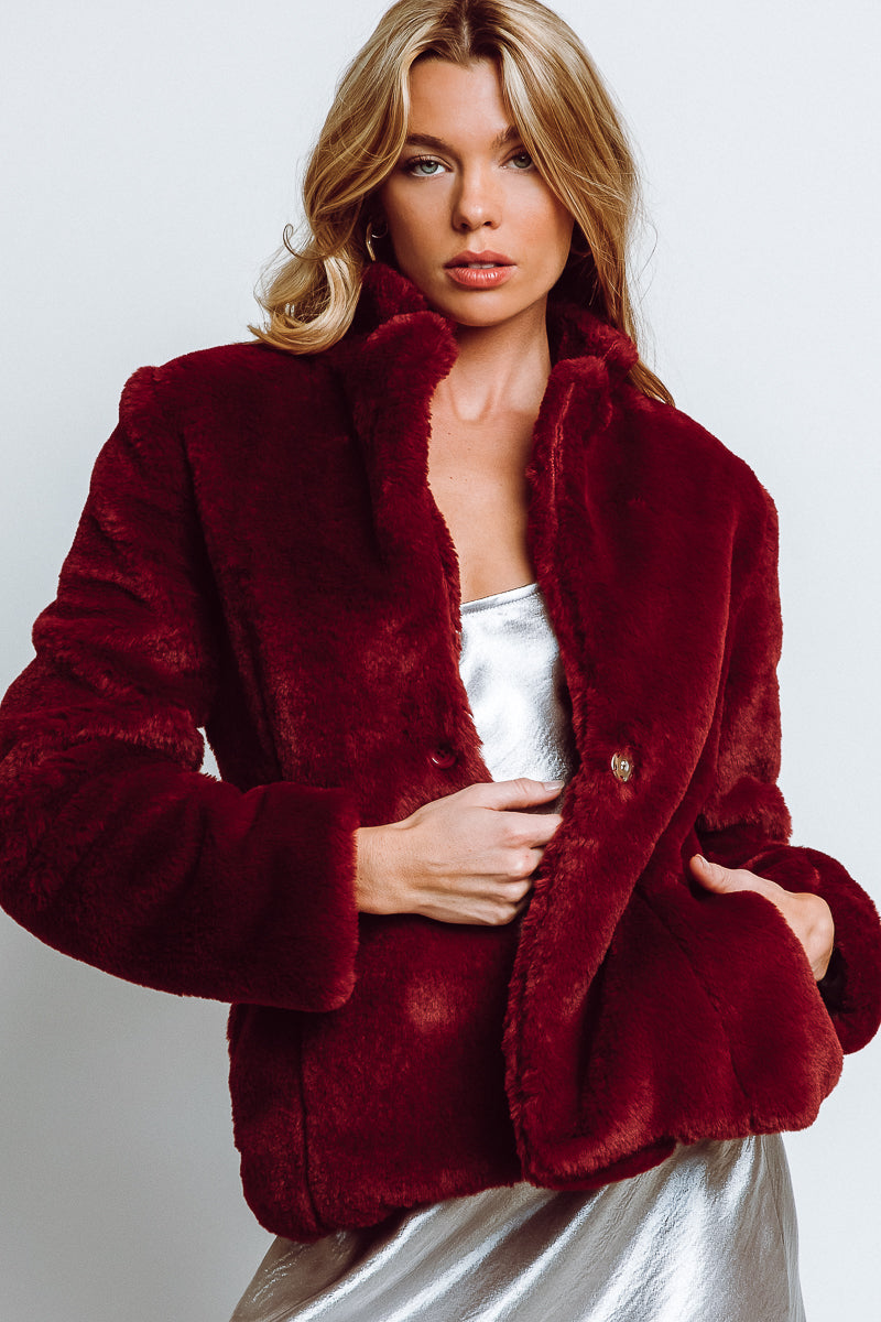 MONTE Devon Coat - Bordeaux Faux Fur