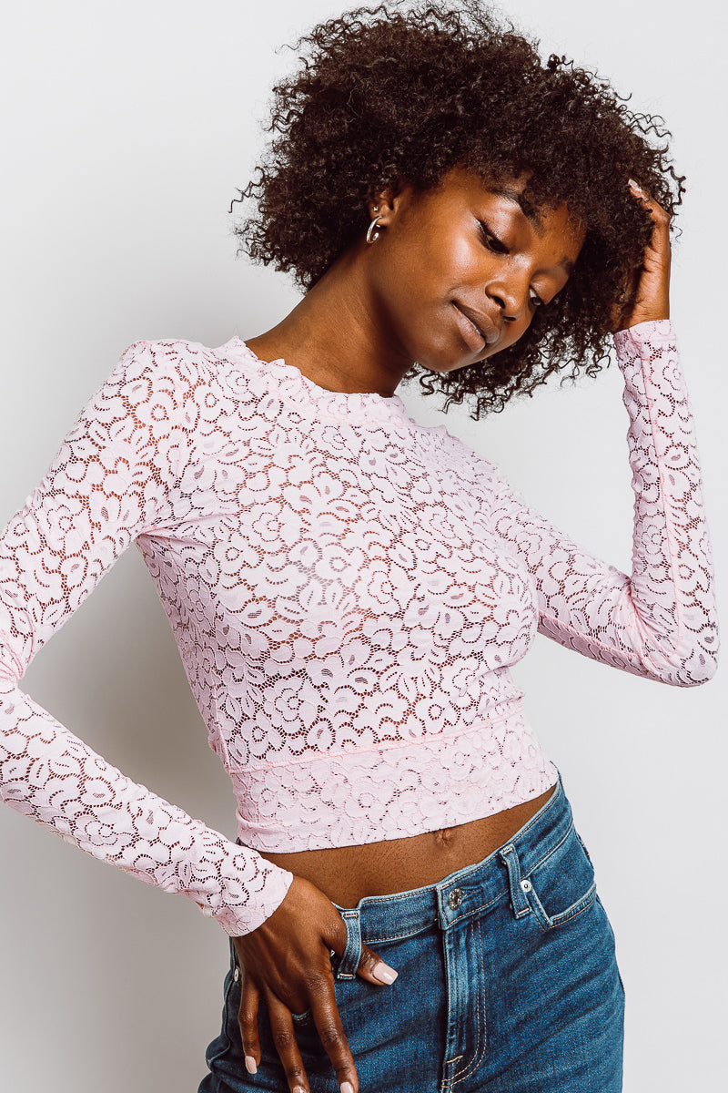 MONTE Lace Grace Top - Pink