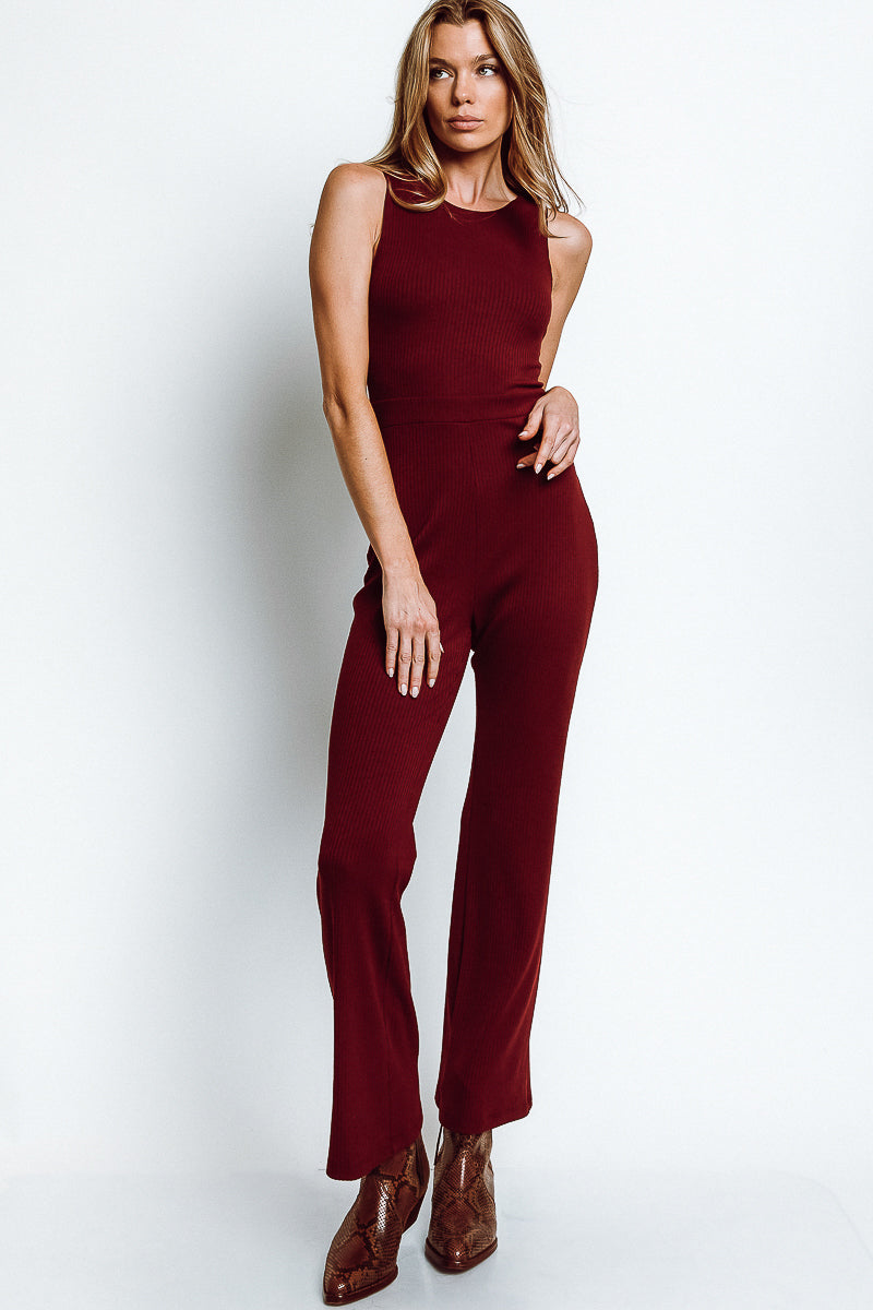 MONTE Megan Jumpsuit - Burgundy