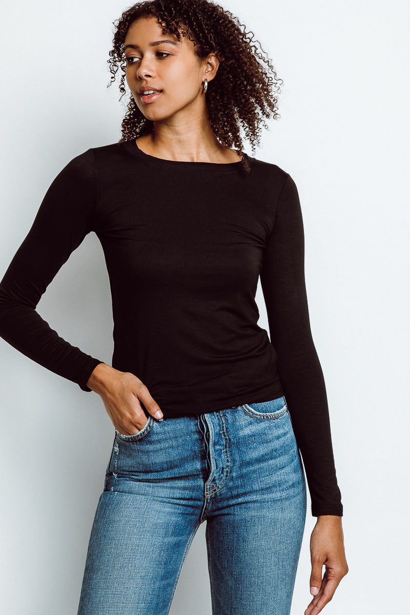 MONTE Mulholland Solid Long Sleeve Tee - Lumi Black