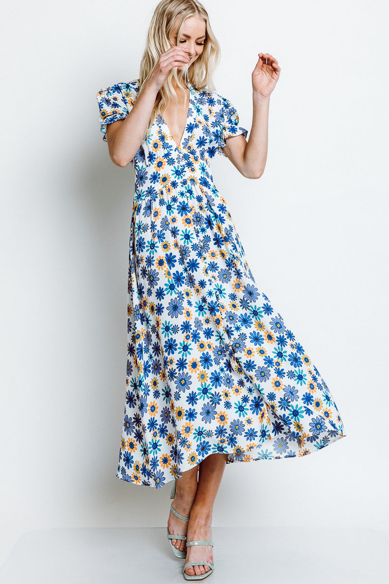 MONTE Roxanne Midi - Flower Child Blue