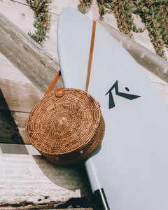 Round Bali Bag Rattan Straw Ata Grass Wicker Beach Bag Crossbody Shoulder Leather Handmade Handwoven Travel Circular
