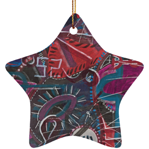 """Om"" Ceramic Star Ornament - Sacred Lotus Gifts"