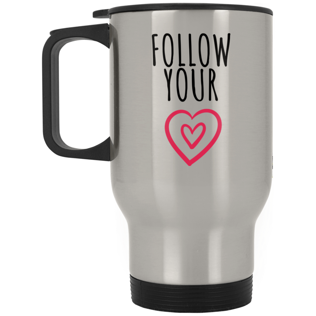 Follow Your Heart Silver Stainless Travel Mug - Sacred Lotus Gifts