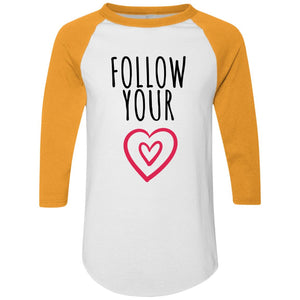 Follow Your Heart Colorblock Raglan Jersey - Sacred Lotus Gifts