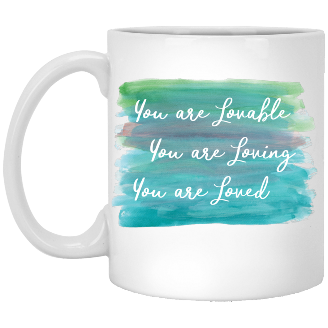 You are Lovable 11 oz. White Mug - Sacred Lotus Gifts