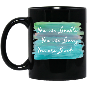 You are Lovable  11 oz. Black Mug - Sacred Lotus Gifts