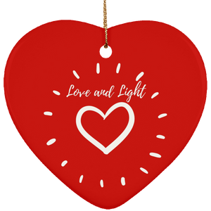 """Love and Light"" Ceramic Heart Ornament - Sacred Lotus Gifts"