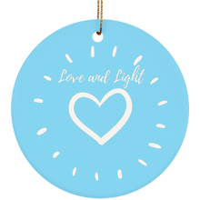 """Love and Light"" Ceramic Circle Ornament - Sacred Lotus Gifts"