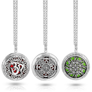 Diffuser Locket Necklace for Essential Oils Antique Silver Finish - Sacred Lotus Gifts