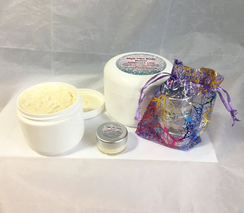 Sampler gift pack of High Vibe whipped body butter.. Raise your vibration. Yoga inspired, Spirituality, Alchemy - Sacred Lotus Gifts