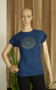 Med Blue T-Shirt with Sri Yantra - Sacred Lotus Gifts