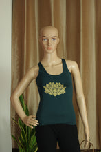 Ripped back - Dark Turquoise top with lotus print - Sacred Lotus Gifts