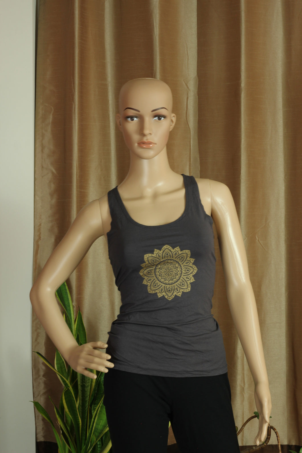 Ripped back - Grey Top with Mandala Flower - Sacred Lotus Gifts