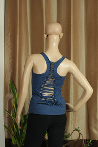 Ripped Back-Med. Blue Top with Sri Yantra - Sacred Lotus Gifts