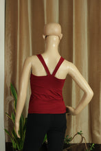 V-Strap Dark Red top with Bali Om - Sacred Lotus Gifts