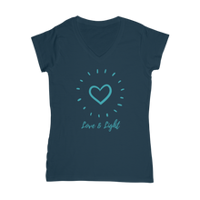 """Love and Light"" Classic Women's V-Neck T-Shirt - Sacred Lotus Gifts"