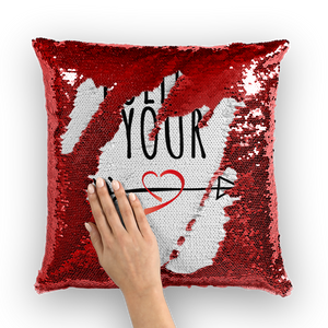 Follow Your Heart II Sequin Pillow Cover - Sacred Lotus Gifts