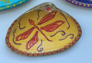 Yoga-inspired Hand painted shell. Dragonfly/Transformation. - Sacred Lotus Gifts