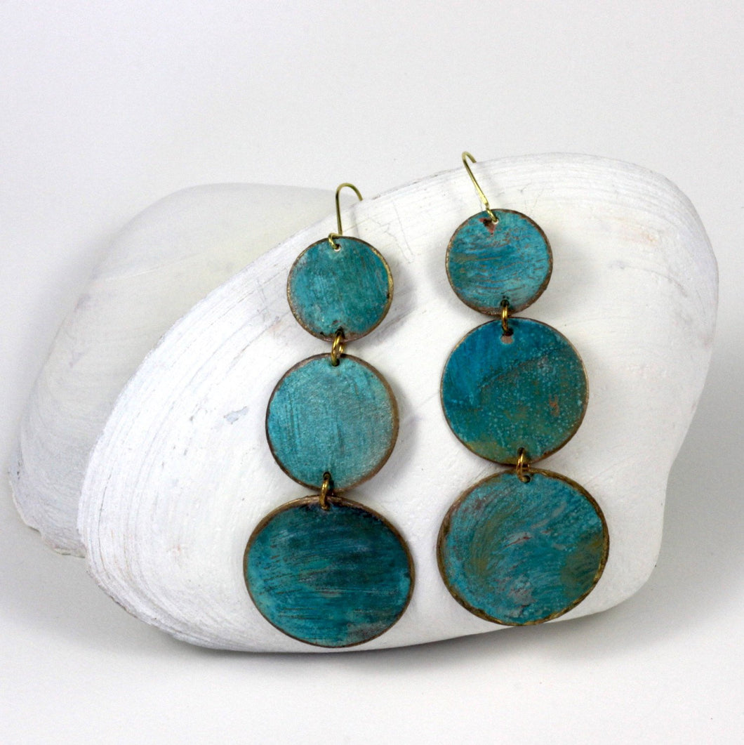 Triple Circle Bronze Patina Earrings - Sacred Lotus Gifts