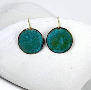 Round Bronze Patina Earrings - Sacred Lotus Gifts