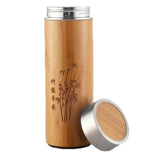 Bamboo Insulated Vacuum Flask for Hot Drinks on the Go - Sacred Lotus Gifts