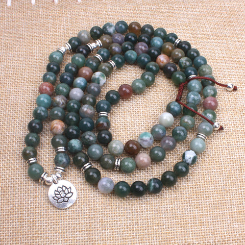 Onyx 108 bead Mala with Om, Lotus, and Buddha charm - Sacred Lotus Gifts