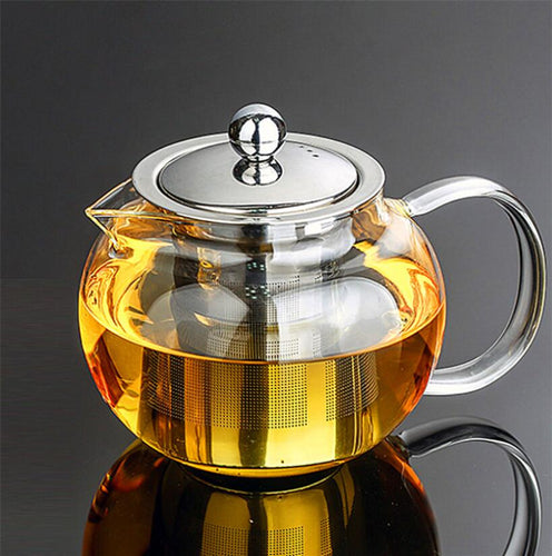Glass and Stainless Steel Tea Pot - Sacred Lotus Gifts