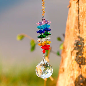 Crystal Chakra Suncatcher with Prism - Sacred Lotus Gifts