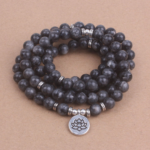 Labradorite 108-bead Mala for transformation. - Sacred Lotus Gifts
