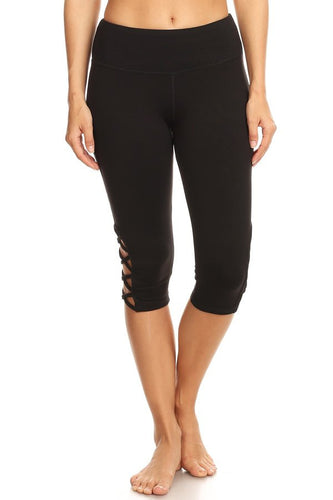 Black Capri Leggings with Criss Cross Cutout - Sacred Lotus Gifts