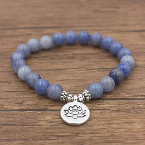 Blue Adventurine Charm Bracelet with Om, Lotus, and Buddha - Sacred Lotus Gifts
