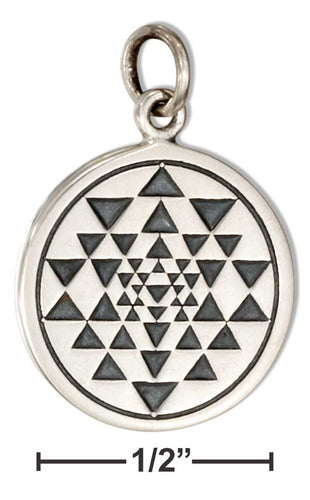Sterling Silver Round Sri Yantra Symbol Charm - Sacred Lotus Gifts