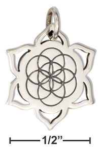 Sterling Silver Seed Of Life Lotus Charm - Sacred Lotus Gifts