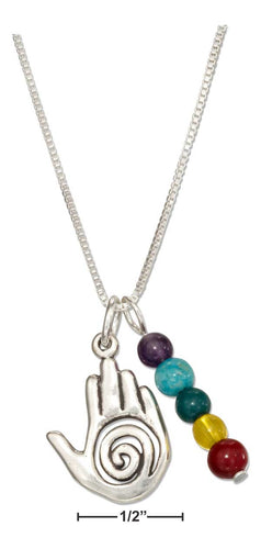 Sterling Silver Healing Hand Pendant Necklace with Five Chakra Beads - Sacred Lotus Gifts