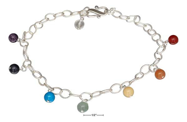 Sterling Silver Chakra Charm Anklet - Sacred Lotus Gifts