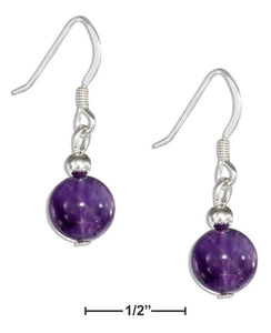 Sterling Silver 8mm Amethyst Bead Earrings on French Wires - Sacred Lotus Gifts