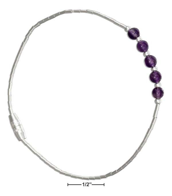 Sterling Silver Liquid Silver and Amethyst Bead Bracelet - Sacred Lotus Gifts