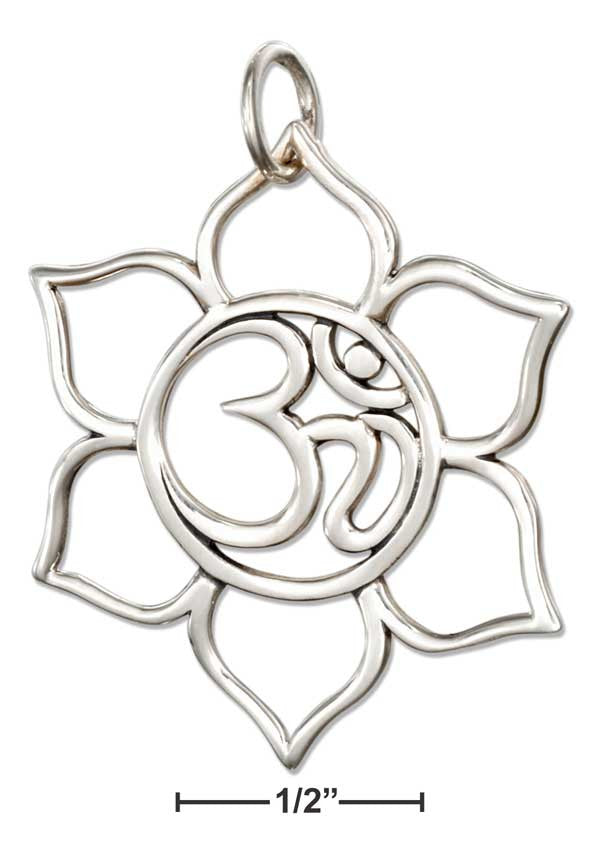 Sterling Silver Open Om in Lotus Flower Charm - Sacred Lotus Gifts