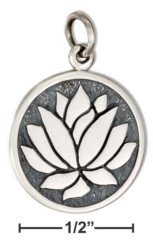 Sterling Silver Round Lotus Flower Charm - Sacred Lotus Gifts