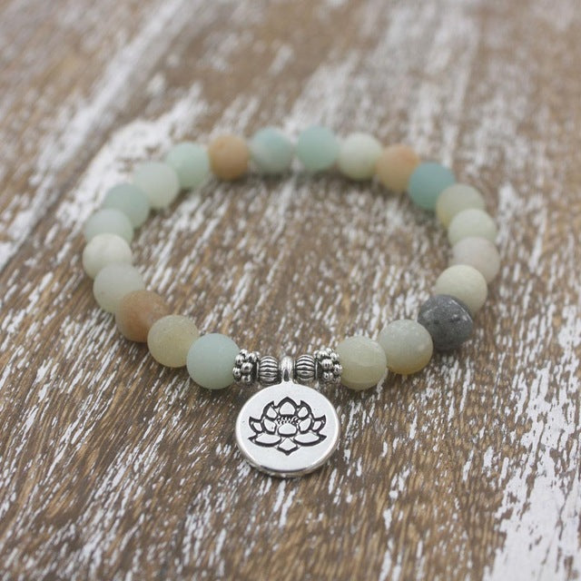 Matte Frosted Amazonite Charm Bracelet with Lotus, Om, and Buddha - Sacred Lotus Gifts