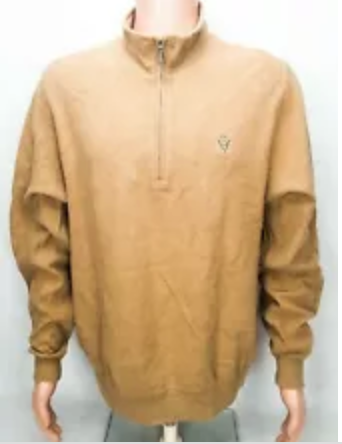 Carnoustie Golf Sweater L Tan 1/4 Zip 100% Cotton EUC
