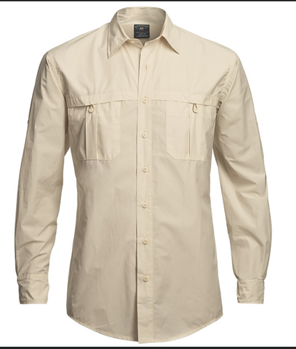 Khaki Fishing Shirt w/Smiling Moose Logo
